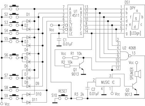 根据与非门的逻辑关系可知CD4068输出为0